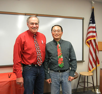 Dr. Elliott and Dr. Hwang compete in the tacky tie contest.