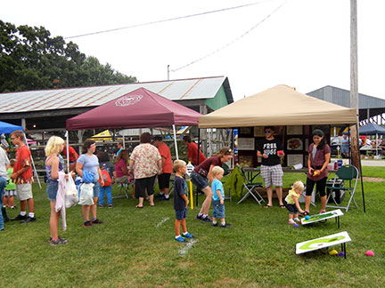The bean bag toss was fun for the kids.