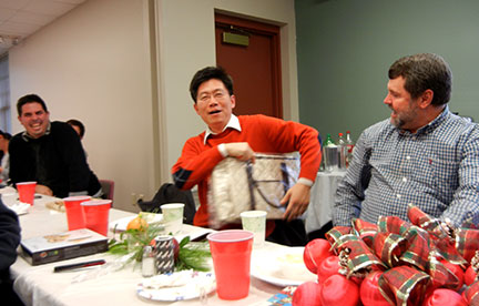 Wenping won two purses in the dirty Santa gift giving (and stealing).