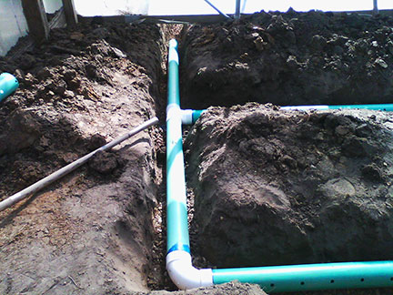 Here is the assembly at the low end of the tunnel with the pipe running outside.