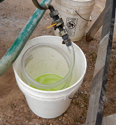 The spray from the 1 minute run is collected in a bucket for each of the 4 outlets.
