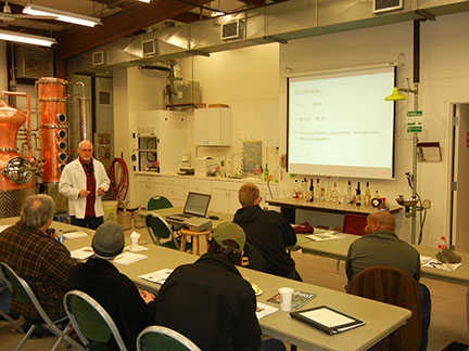The presentations were made as the distillation was progressing.