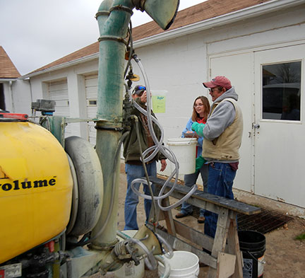 The amounts from each nozzle is recorded. The test is performed three times and the average is used to determine how many gallons per acre are applied at the given disc setting.