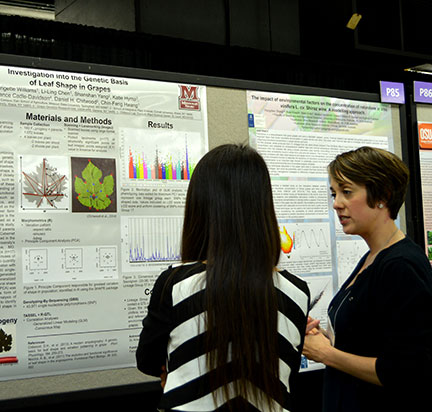 """Brigette Williams presented a poster entitled """"Investigation into the Genetic Basis of Leaf Shape in Grapes"""""""