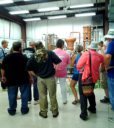 After the high tunnel tour, C. J. Odneal led a winery/distillery tour.