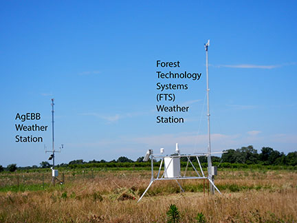 There are two weather stations at our experiment station. The AgEbb weather station tracks general weather data and the MesoWest station tracks weather data specific to fire hazard. The wind meter on the MesoWest is 20 feet from the ground whereas the wind meter on the AgEbb station is about 10 feet from the ground.