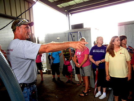 After the hayride, the group toured the distillery and the crush pad.