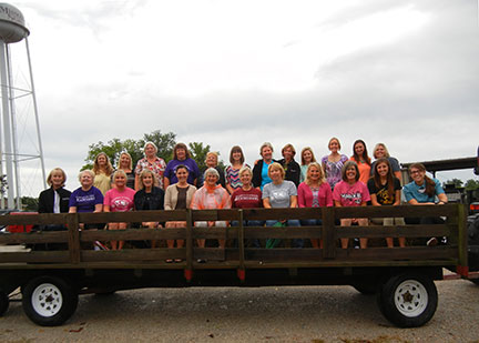 The Family Nutrition Education Program group went on a hay wagon tour of the State Fruit Experiment Station.
