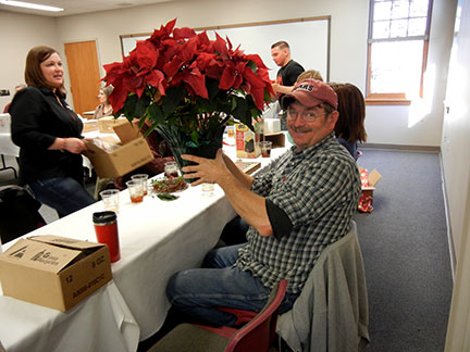 Randy got his poinsettia!!