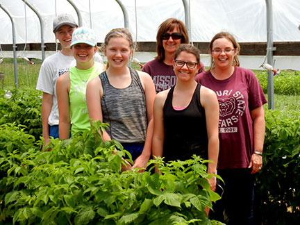 Here we are in the tunnel after putting the irrigation back in place. From left to right - Rachel Veenstra, Lisa Roberts, Kelsey Goad, Shelia Long, Emma Thornhill and Jennifer Morganthaler.