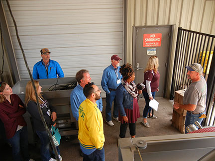 Having a look at the crush pad where the grapes are loaded into the winery for processing.