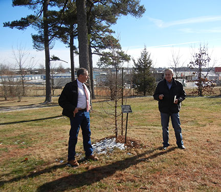 Dr. Del Vecchio talked about the new College of Agriculture and helped to dedicate this dawn redwood tree planted on campus to Dr. Elliott for his years of service.