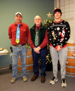 The ugly tie contest was expanded to include sweaters and hats this year.