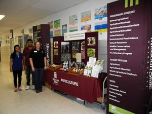 Our booth featured fruit growing information, student recruitment materials and a display of our wines, jams and honey.