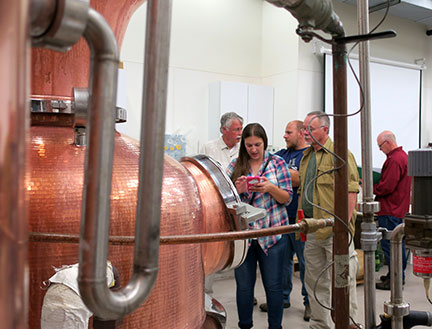 On the second day, a distillation is run and students learn to make the cuts between head, hearts and tails.