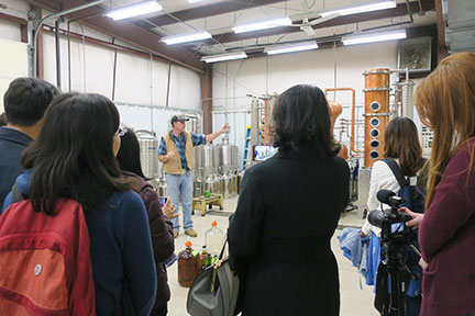 After tasting, the group toured the MSU distillery.