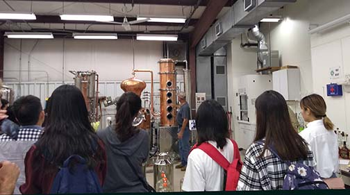 The other group tours the winery and distillery before switching and touring Shepard Hall
