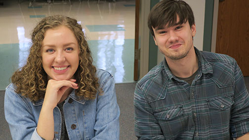 Grad students Sadie and Bryce are going to graduate this semester.