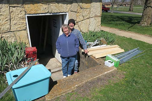 Bob and Wendy returned on April 1 to assemble the Oyster mushroom unit and to fill both units with mushrooms to grow.
