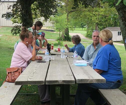 People enjoyed the lunch, some indoors and others outdoors, either way there was plenty of time to talk.