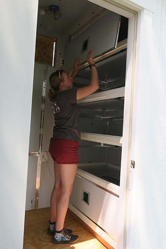 Emily finds the magnetic doors to the units handy.