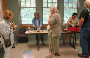 Brenda demonstrated ow to re-hydrate freeze-dried mushrooms and Lynn handed out samples of butter-roasted parmesan Bellas.