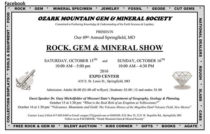 The flyer for the mineral show.