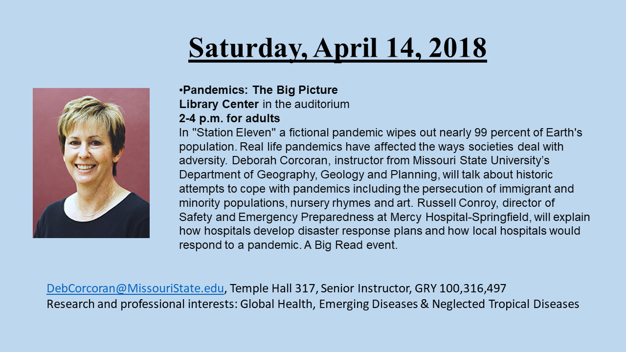 Don't miss Deb's presentation on Pandemics!