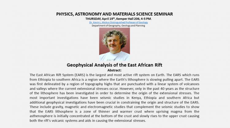 Distinguished Professor of Geology, Dr. Kevin Mickus Presentation! When?