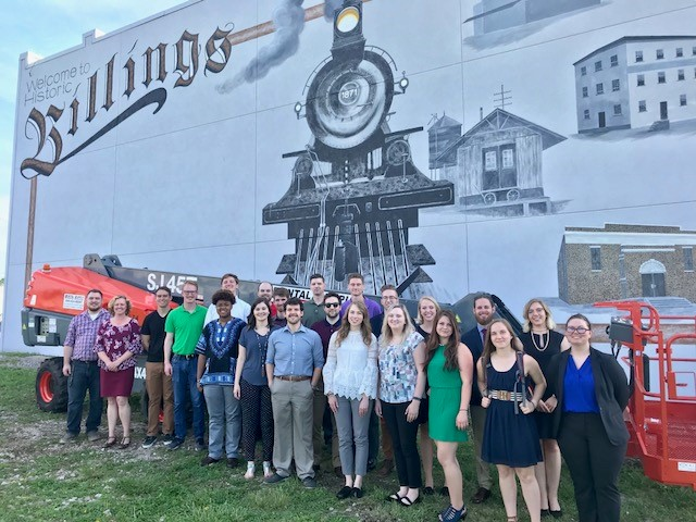 Students in front of the Billings mural