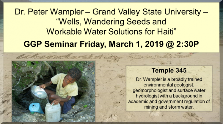 The department of Geography, Geology and Planning, Friday seminar presentation will be by Dr. Peter Wampler. Dr. Wampler is a broadly trained environmental geologist, geomorphologiest and surface water hydrologist with a background in academic and government regulation of mining and storm water.