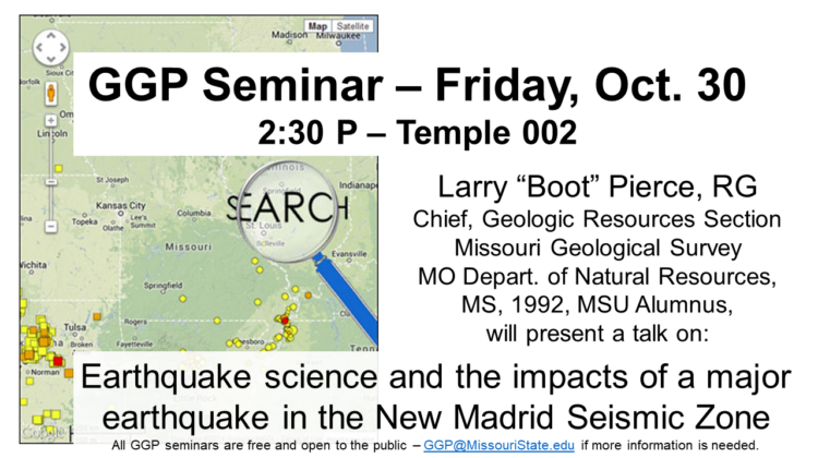 """Larry """"Boot"""" Pierce, RG and Chief, Geologic Resources Section, Missouri Geological Survey, Missouri Department of Natural Resources seminar announcement image."""
