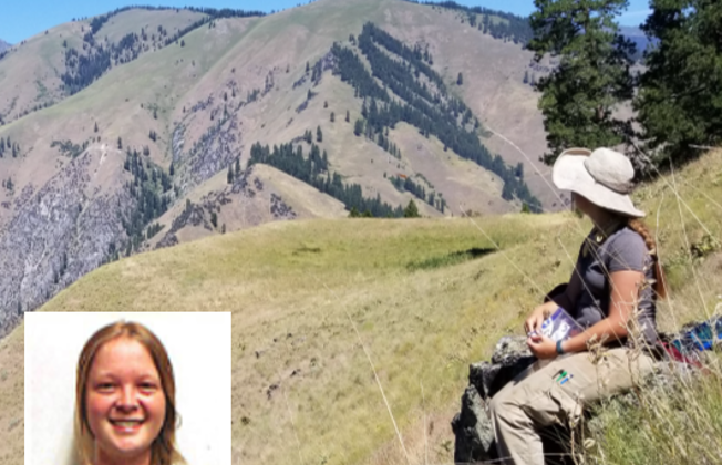 Photo of Tessa sitting on a mountainside, looking away from the camera. She is viewing nearby mountain vistas. There is an insert photo of a portrait of Tessa as well.