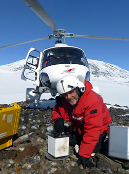 Mickus in Antarctica studying volcano