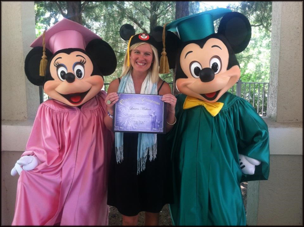 Lauren Mattson with Mickey and Minnie at her graduation from the Disney College Program