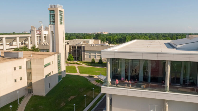 Aerial shot of Glass and Meyer Library