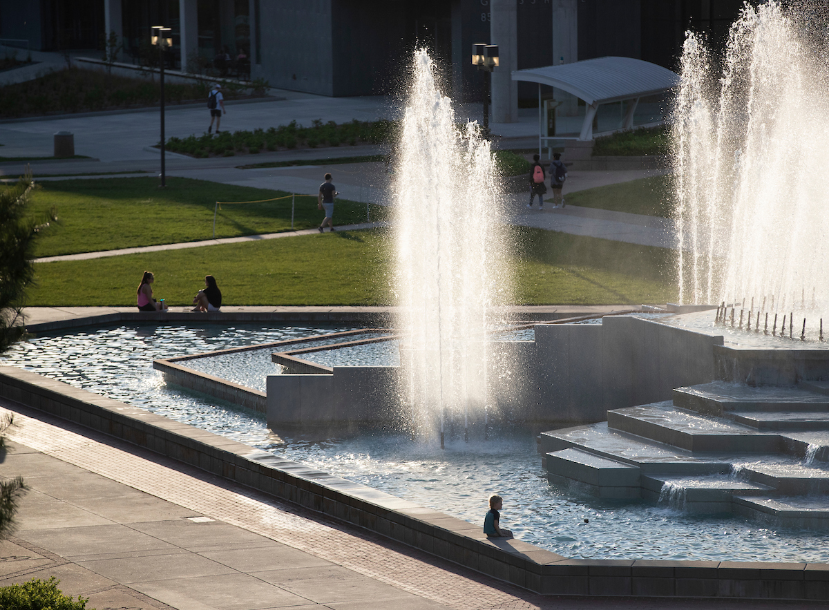 Fountains in front of Meyer Library