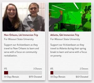 preview of MSU crowdfunding pages