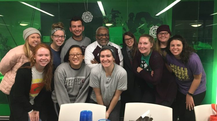 Our Bear Break Trip Leaders posing with Lyle Foster, our sociology professor at Missouri State, and Amanda Stadler with Community Partnership of the Ozarks.