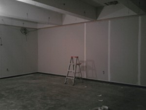 Drywall up--no more orange walls