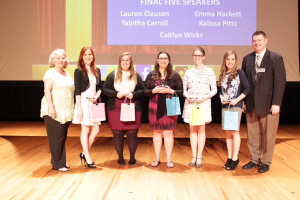Finalists in the spring 2015 showcase included Lauren Clausen, Tabitha Carroll, Caitlyn Wicks, Emma Hackett and Kalissa Pitts.