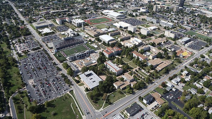 Aerial view of Springfield with a focus on the Missouri State campus
