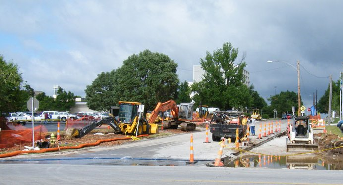 Construction at National and Monroe Avenue intersection