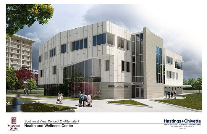 A rendering of the southwest side of the wellness center.