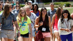 SOAR students walking across campus together.