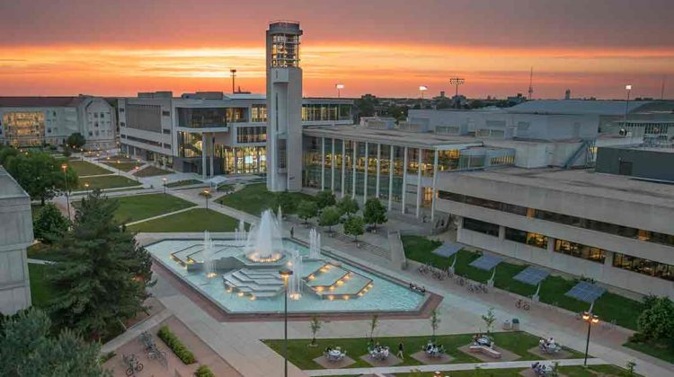 Arial shot of campus at dusk