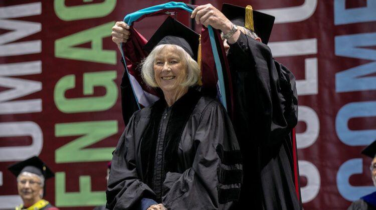 Roseann Bentley receiving the honorary doctorate at May 2018 commencement.