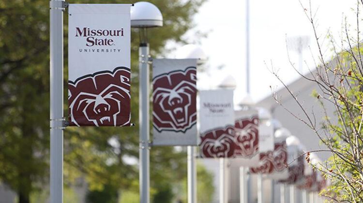 Missouri State banners on the Missouri State University Springfield campus.