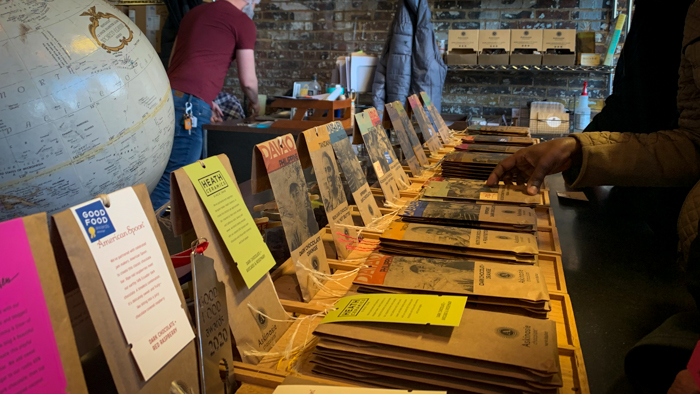 Chocolate bars lined up on the counter at Askinosie Chocolate
