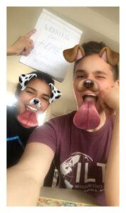 Gunner and Maria show their work from home strategy, fun snapchat filters